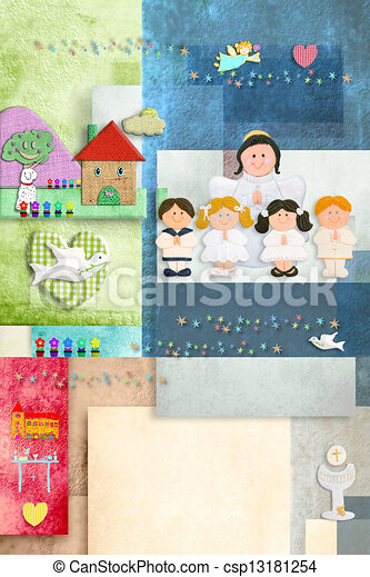 First Holy Communion Angel And Children Invitation Card Vertically