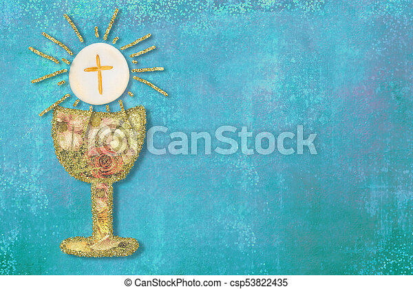 First Holy Communion Invitations Cards Gold Chalice With Flowers