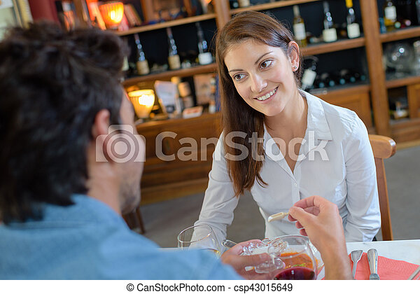 first meeting in the restaurant - csp43015649