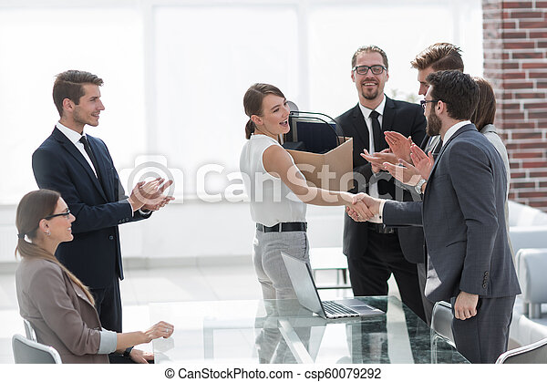 first meeting of a young employee with a business team - csp60079292