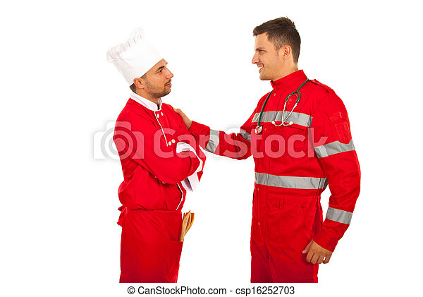 First meeting of paramedic and chef - csp16252703