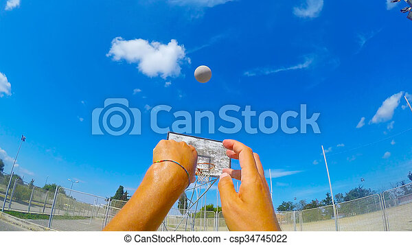 first person view of a basketball shot - csp34745022