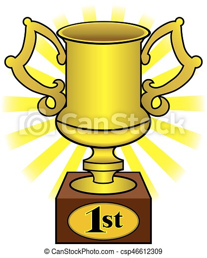 first place trophy gleaming golden trophy for first place vector rh canstockphoto com first place clipart first place award clipart