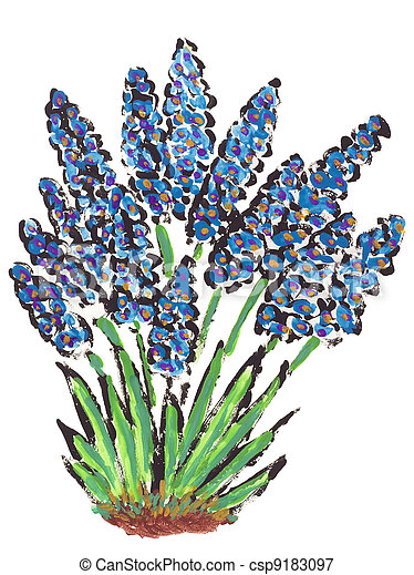 Painted abstract first springs flowers muscari isolated first springs flowers muscari csp9183097 mightylinksfo