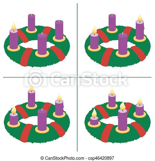 First Sunday Of Advent Second Third Fourth Advent Wreath On Eps
