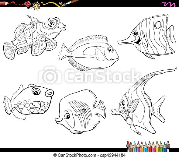 Fische, färbung, satz, karikatur, seite. Leben, satz, tier ...