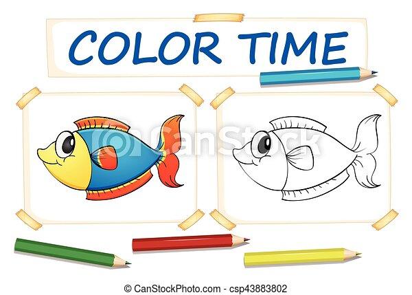 Fische, färbung, schablone, abbildung Vektor Clipart - Suche ...