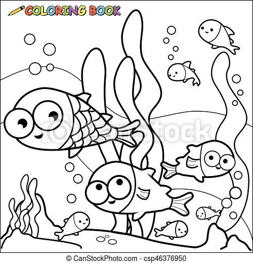 Fische, färbung, underwater., buchseite. Page., färbung,... Clipart ...