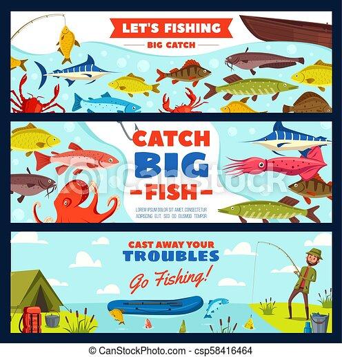 fische, fischer, stange, haken, fischerei, banner