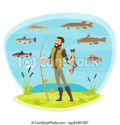 fische, vektor, fischer, fischen fängt, mann