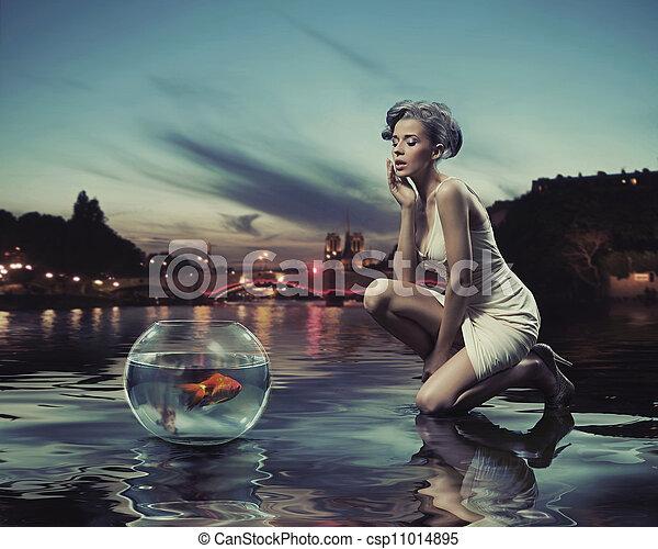 fish, κυρία , ομορφιά , χρυσός  - csp11014895