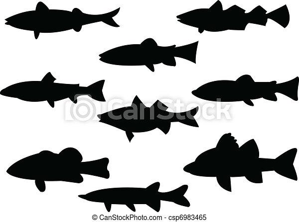 fish, シルエット - csp6983465