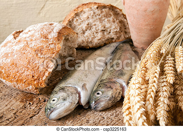 fish, ワイン, bread - csp3225163