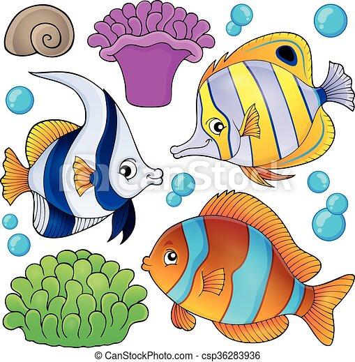 fish, 3, zbiór, temat, rafa, koral - csp36283936