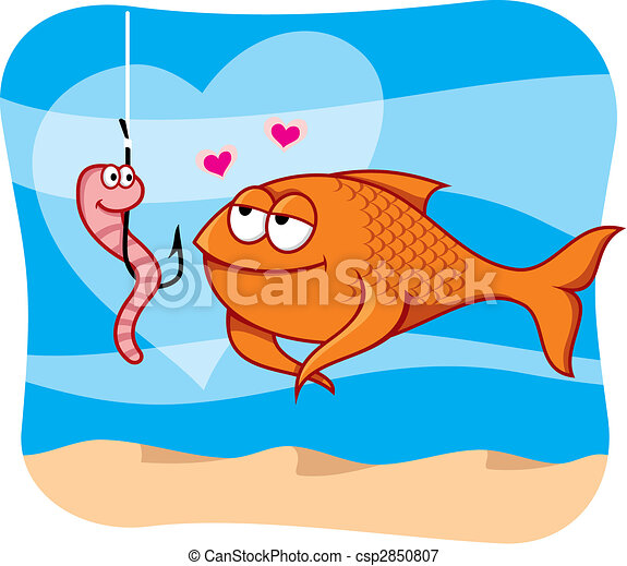 Fish and bait in love vector - csp2850807