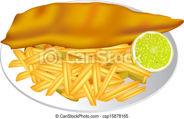 Cartoon fish and chips clipart #1