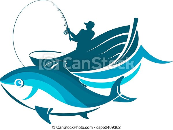 fish and fisherman in a boat with a fishing rod clip art vector rh canstockphoto com bent fishing rod clipart fishing rod and reel clipart