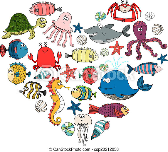 fish and marine animals in shape of heart  vector eps10 stingray clipart image stingray clipart vbs