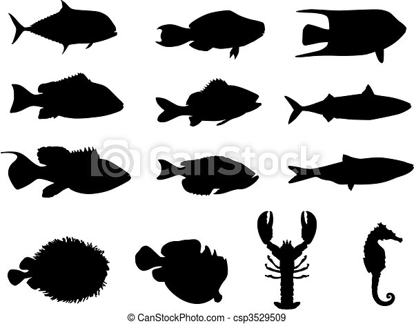 Fish and sea life silhouettes - csp3529509