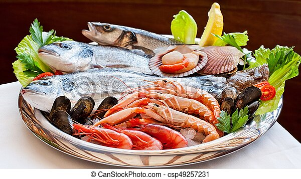 Fish and seafood to your table! Bon Appetit! - csp49257231