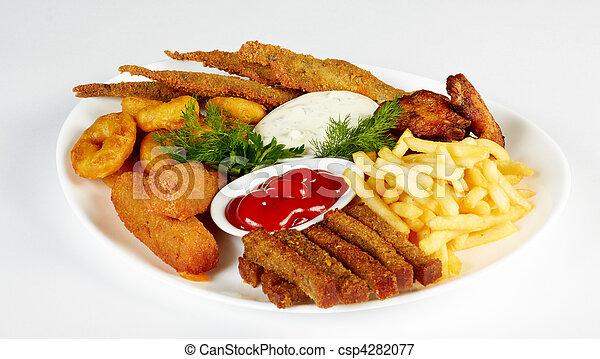 fish, arrostito, frigge, francese, rusks, servito, ali pollo - csp4282077