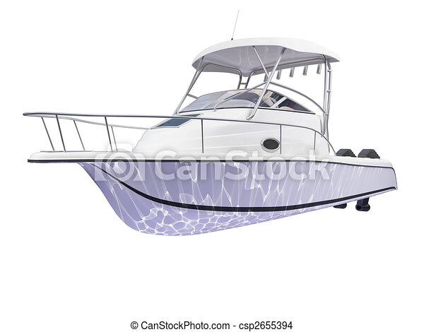 Fish Boat isolated back view - csp2655394