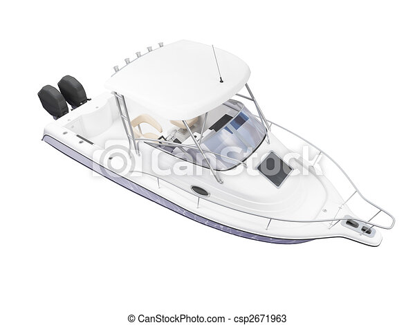 Fish Boat isolated back view - csp2671963