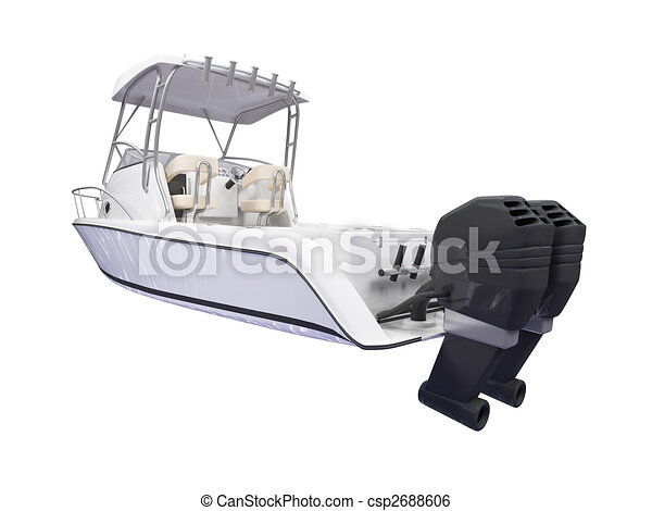 Fish Boat isolated back view - csp2688606