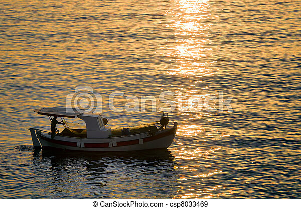 fish boat on the sea in the morning - csp8033469