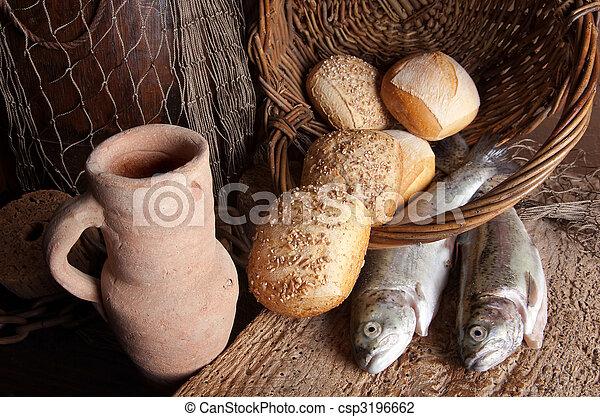 fish, bread, 水差し, ワイン - csp3196662