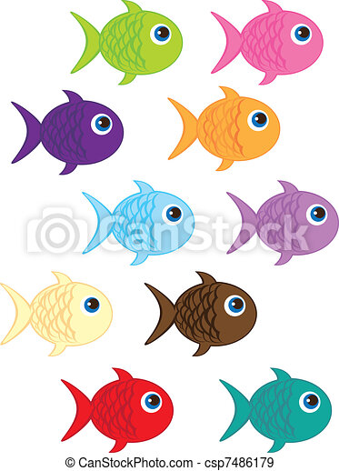 cute fish cartoon isolated over white background vector rh canstockphoto com cute fish cartoon images funny fish cartoon