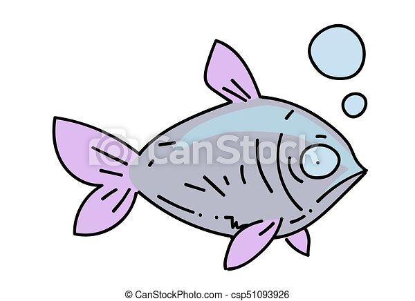 Fish cartoon hand drawn image - csp51093926