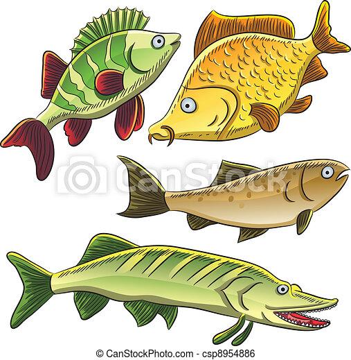 fish collection cartoon illustration of freshwater fish rh canstockphoto com Bobber Clip Art Pool Clip Art