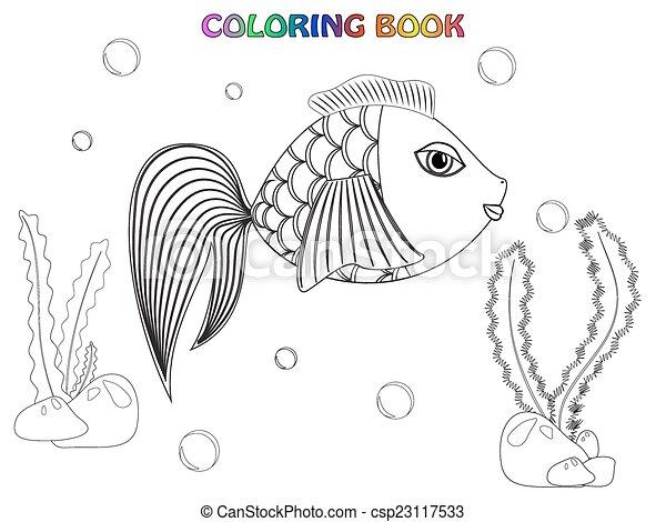 Fish Coloring Book Alga Stones And Bubbles