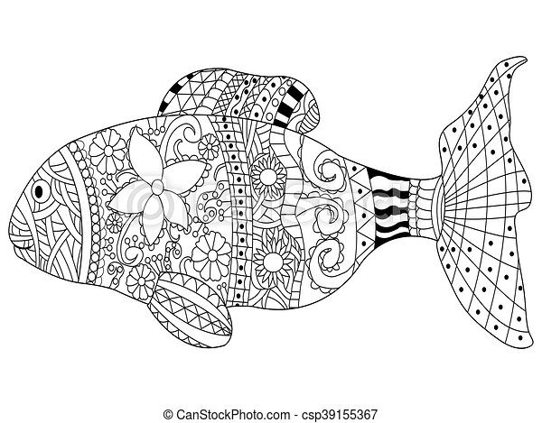 Fish Coloring Book Vector For Adults