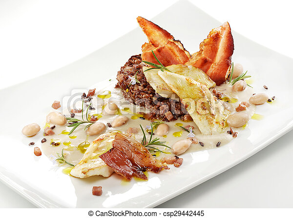 fish dish, turbot fillets, cream of beans, red rice, crispy bacon - csp29442445