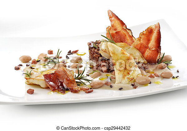 fish dish, turbot fillets, cream of beans, red rice, crispy bacon on white square plate1 - csp29442432