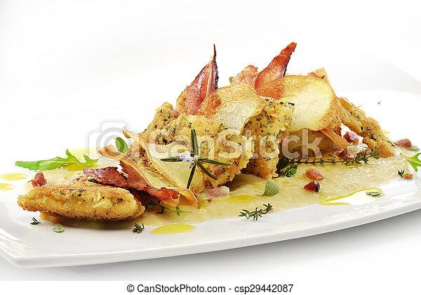fish dish, turbot fillets flavored crust, cips, rosti, creamed potatoes, crispy bacon2 - csp29442087