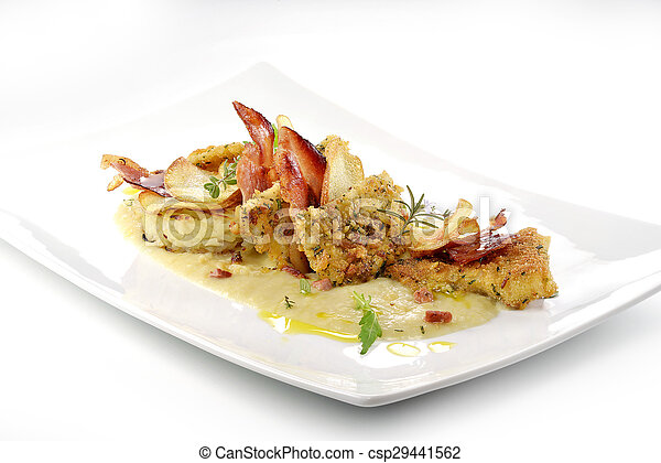 fish dish, turbot fillets flavored crust, cips, rosti, creamed potatoes, crispy bacon - csp29441562
