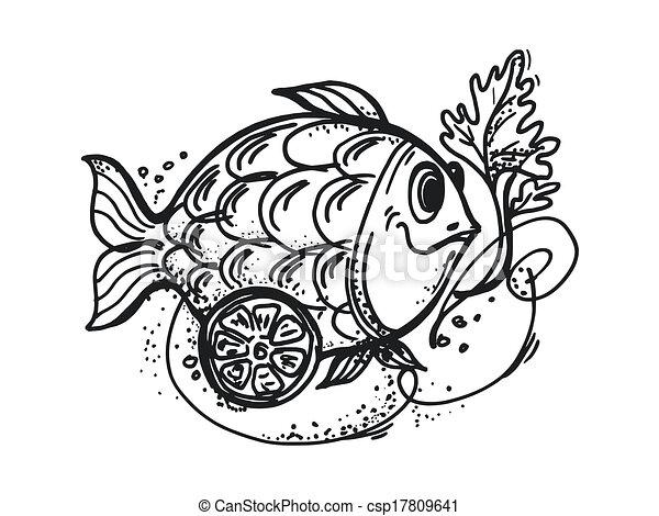 Hand drawn, cartoon, sketch illustration of fish dish with ...