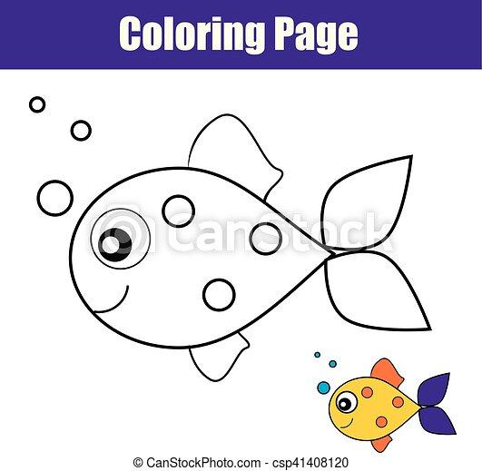 fish., erzieherisch, färbung, printable, spiel, seite, kinder, aktivität, zeichnung