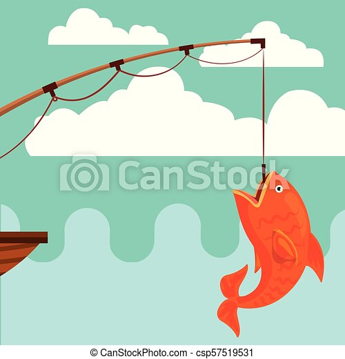 Fish Fishing Cartoon Fishing Rod And Fish On Hook Vector Illustration