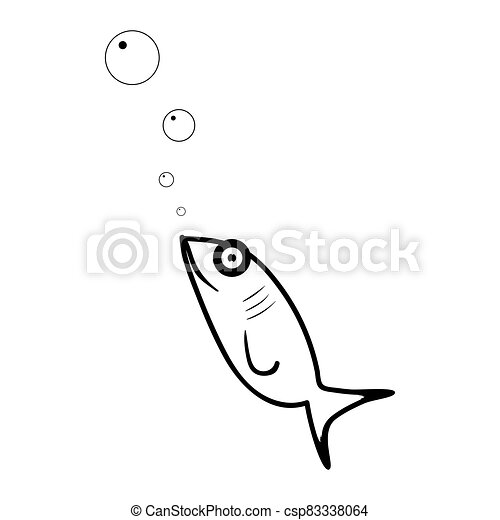 Fish flat icon. Isolated on white background. Vector illustration. - csp83338064