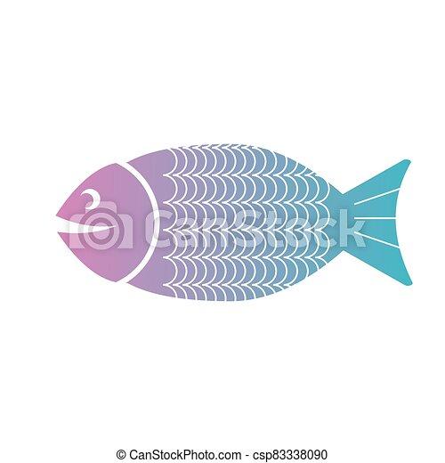 Fish flat icon. Isolated on white background. Vector illustration. - csp83338090