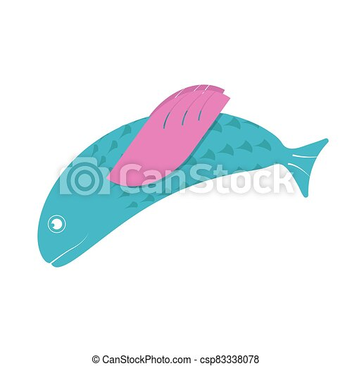 Fish flat icon. Isolated on white background. Vector illustration. - csp83338078