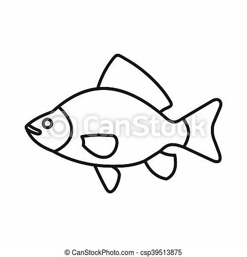 Fish icon, outline style - csp39513875