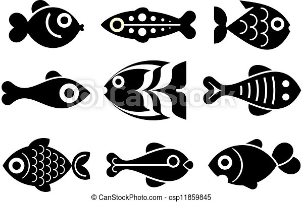 fish icon set different fishes set of isolated vector icons