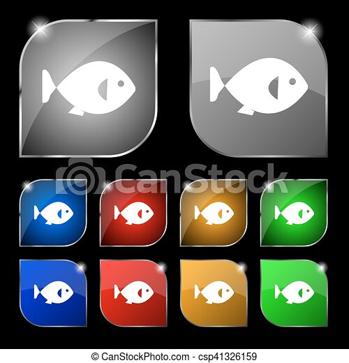 Fish Icon Sign Set Of Ten Colorful Buttons With Glare Vector