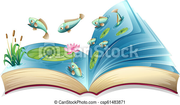 Fish in the pond open book - csp61483871