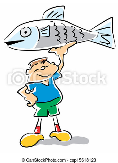 Fish kid - funny illustration. Little boy holding up his ...